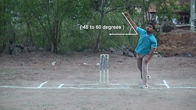 Leg break bowling - Position of arm